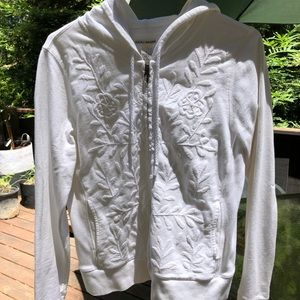 Lucky brand embroidered zip up hoodie
